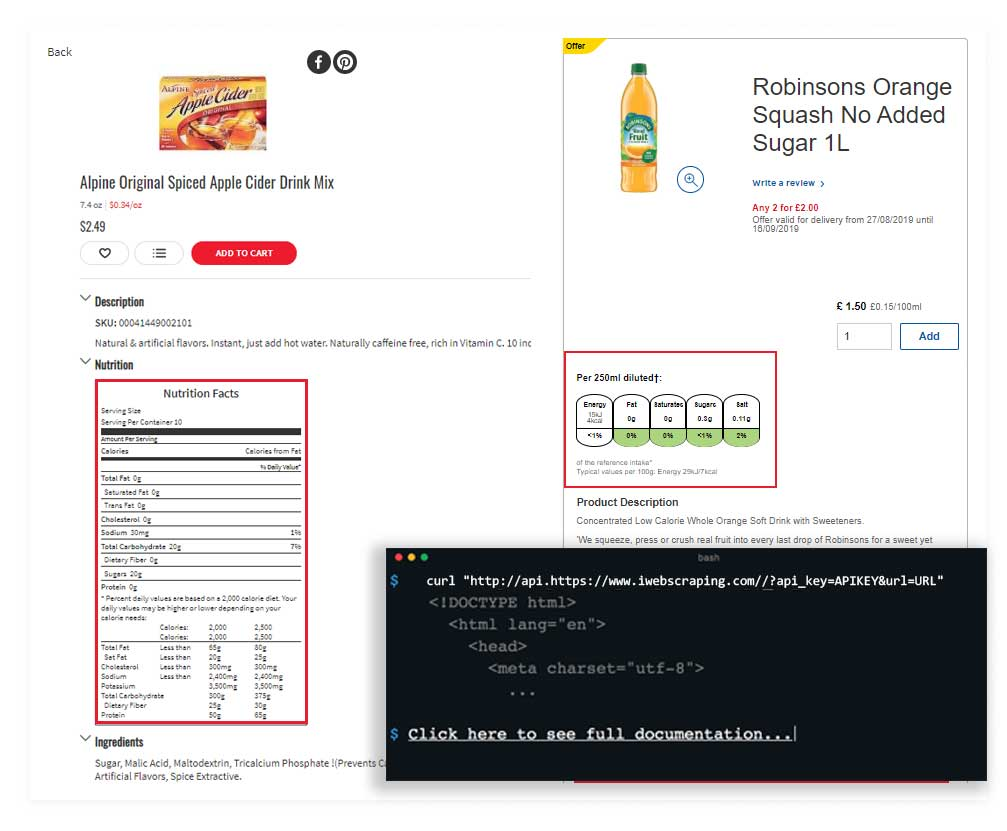 Best Nutrition API Scraping Services